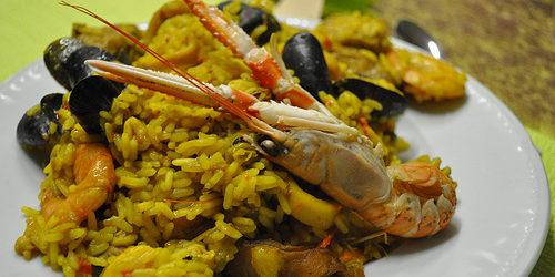Paella de marisco (con frutti di mare e crostacei)