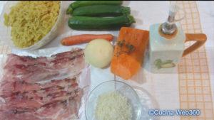 Pasta zucchine e speck con zucca: ingredienti