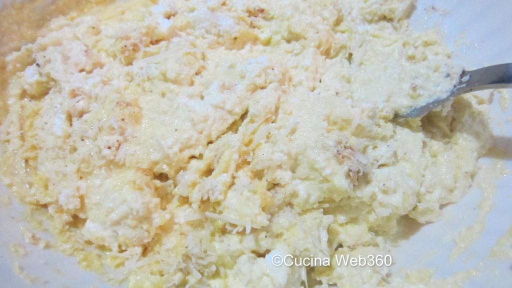 Impasto: uova ricotta, parmigiano