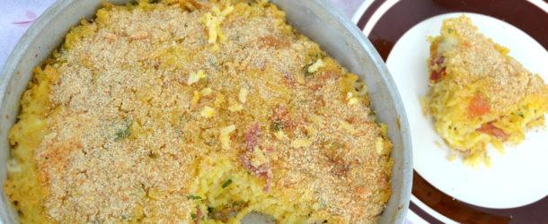 Tortino di riso con salumi e formaggi