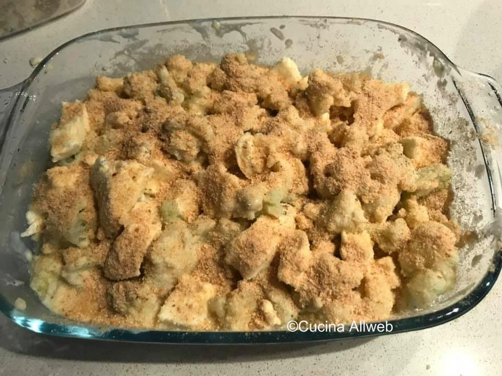 cavolfiori al forno con mozzarella